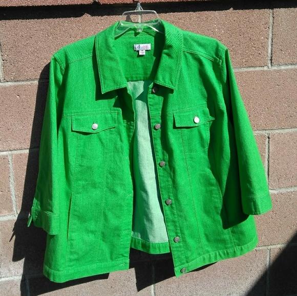 363b496e03f Bright green denim jacket